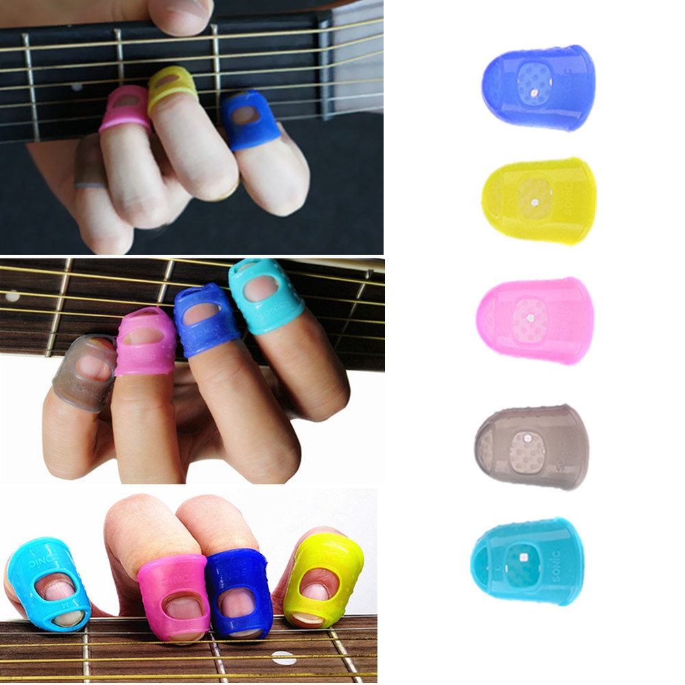 4Pcs Silicone Guitar Thumb Finger Picks Protector Fingertip Plectrum For Guitar Ukulele... by