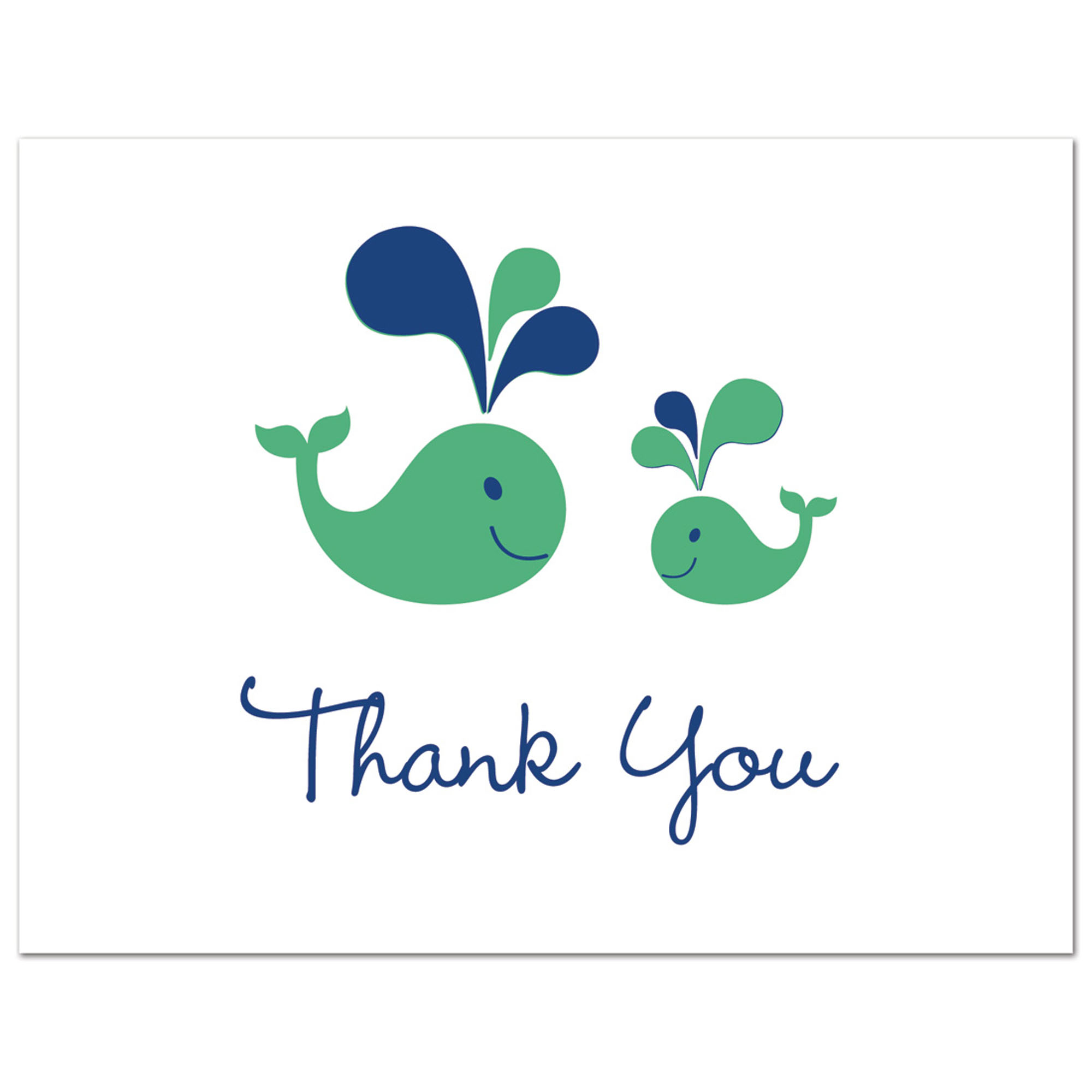 Blue Whales- Boy Baby Shower Thank You Cards and Envelopes - 50 count