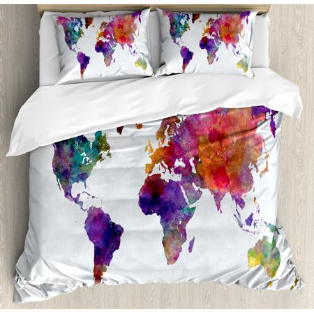 Watercolor queen size duvet cover set multicolored hand drawn world watercolor queen size duvet cover set multicolored hand drawn world map asia europe africa america gumiabroncs Gallery