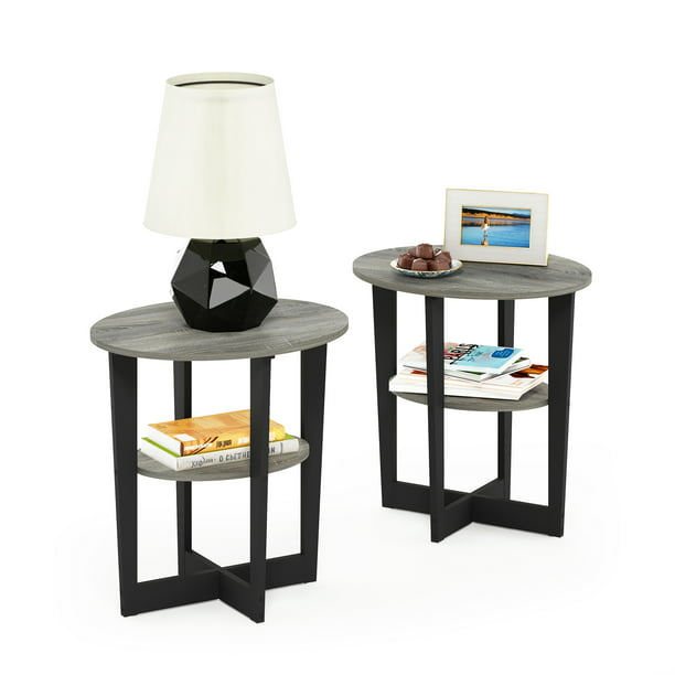 Furinno JAYA Oval End Table, Set of Two, French Oak Grey/Black