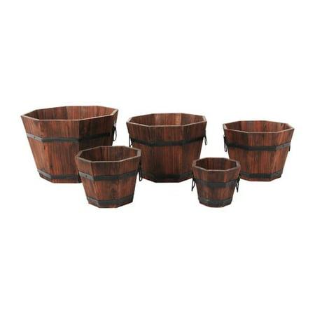 Leisure Season Barrel Style 5-Piece Cypress Planter Set (Set of 5) 5 Piece Edge Barrel
