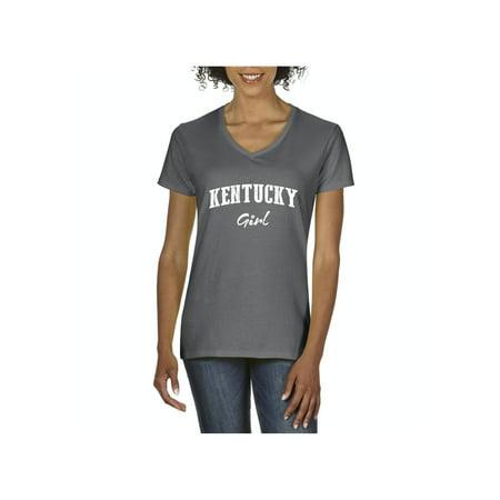 Kentucky Girl Kentucky State Flag Women V-Neck T-Shirt