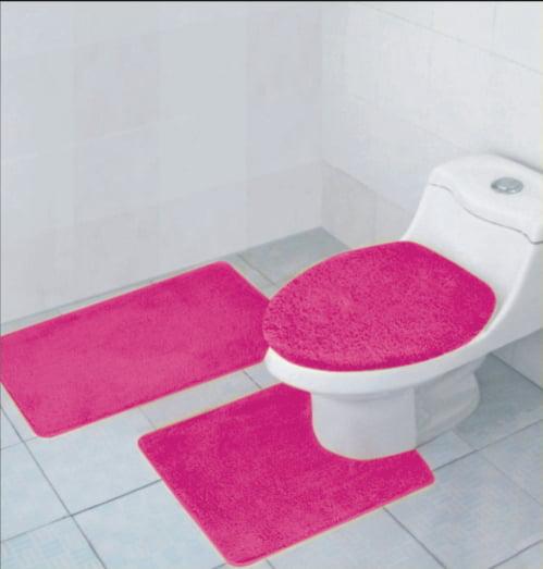 hailey 3 piece bathroom rug set, bath mat, contour rug, toilet