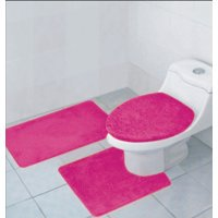 Hailey 3 Piece Bathroom Rug Set Bath Mat Contour Toilet Seat Lid