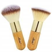 matto bamboo makeup brush set face kabuki 2 pieces - foundation and powder makeup brushes for mineral bb cream