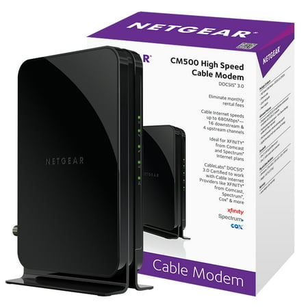 NETGEAR CM500 (16x4) DOCSIS 3.0 Cable Modem. Max download speeds of 680Mbps. Certified for XFINITY by Comcast, Time Warner Cable, Cox, Charter & more