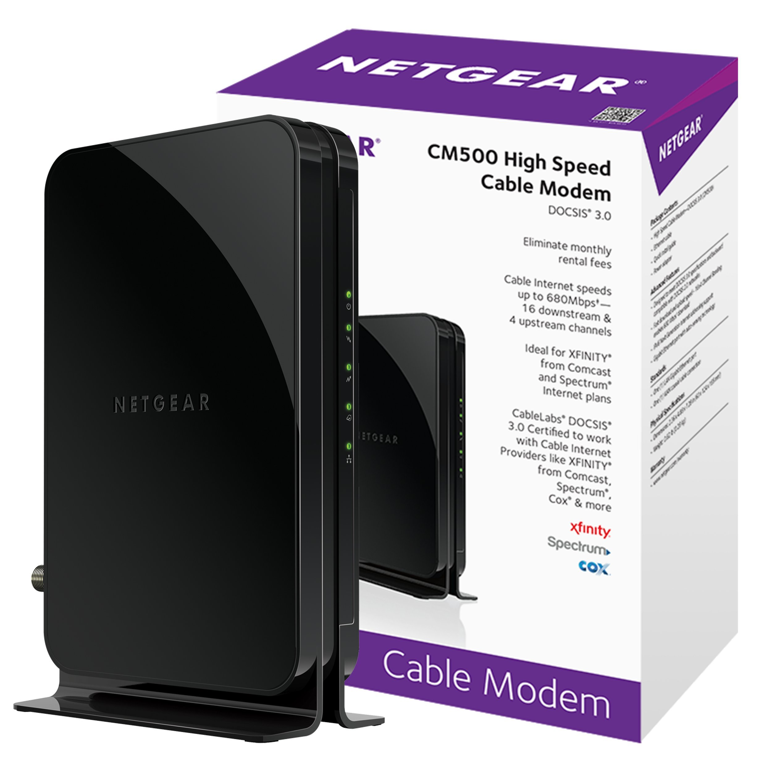 NETGEAR CM500 (16x4) DOCSIS 3.0 Cable Modem. Max download speeds of 680Mbps. Certified for XFINITY by Comcast, Time Warner Cable, Cox, Charter & more (CM500)