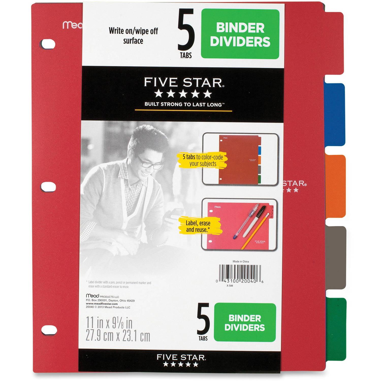 Five Star Multicolor 5-Tab Binder Dividers, Assorted