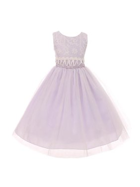 Little Girls Lilac Lace Embroidered Bodice Bejeweled Waist Easter Dress