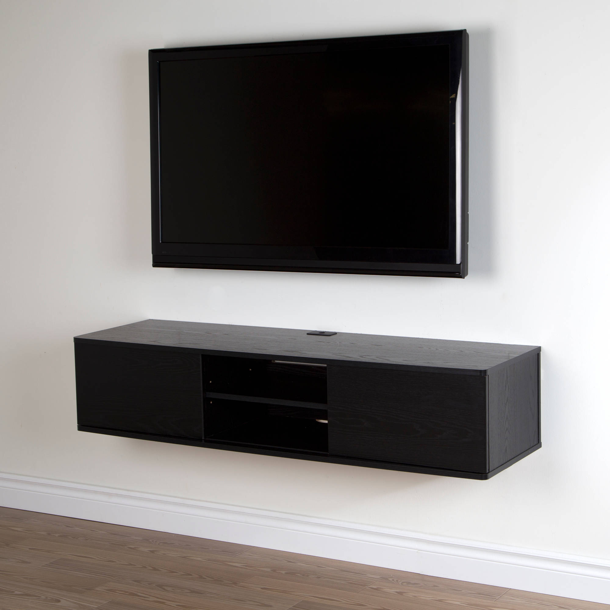 Black Wall Mounted Tv Stand Floating Cabinet With Door ...
