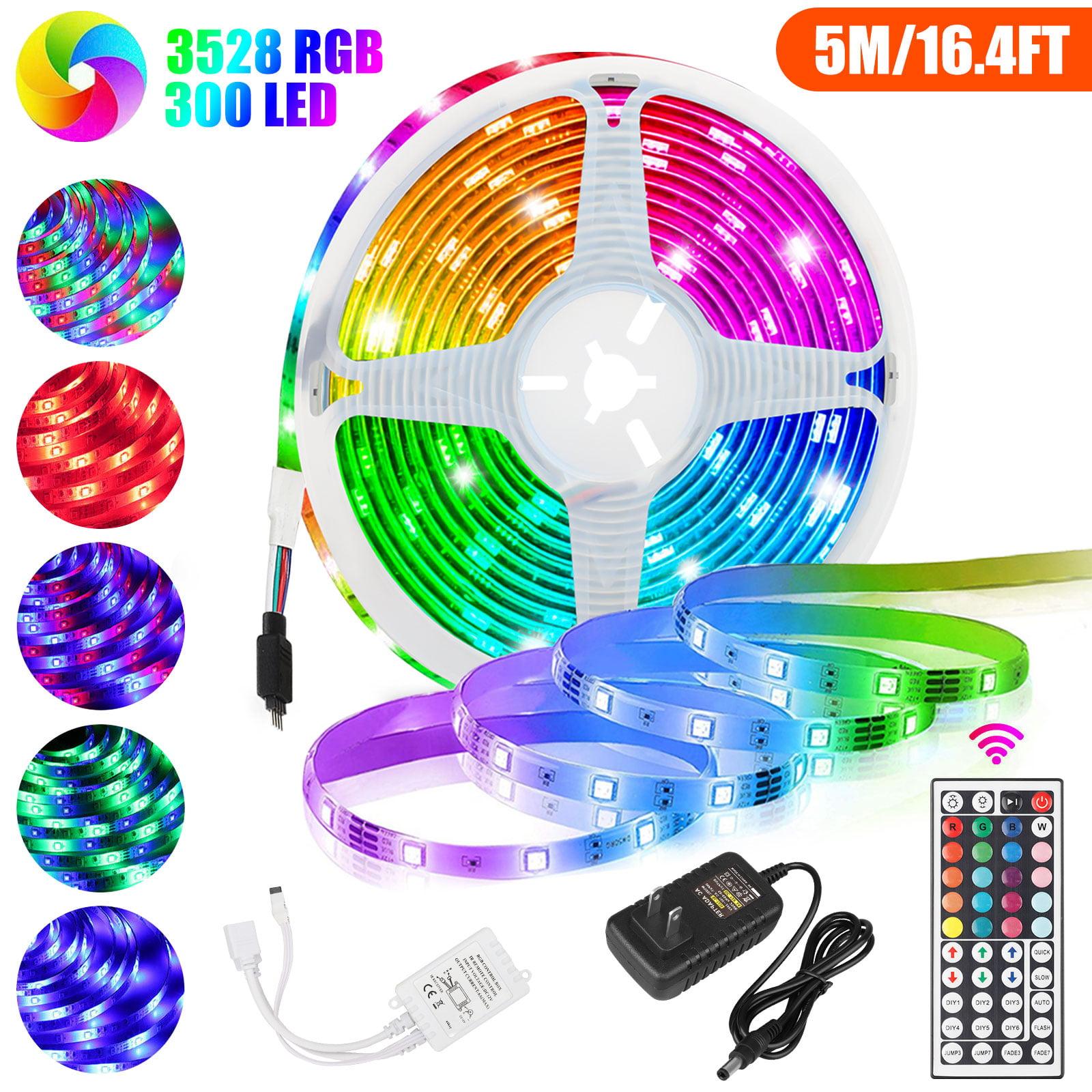 5M 16.4 ft LED Strip Light SMD 5050 RGB+mini 44 Key Remote Controller+12V Power