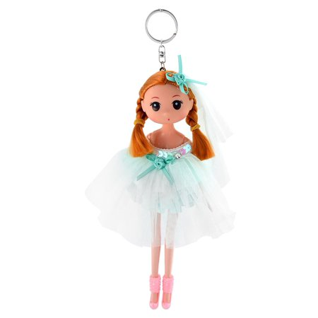 Girl Trunk Veil Dress Toy Design Pendant Hanging Doll Keychain Key Ring Green - Girls Trunk