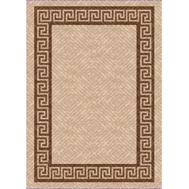 IMS 26050460205082 5 ft.  x 8 ft.  HEAVYWEIGHT OUTDOOR PATIO RUG-GREEK KEY PATTERN-BEIGE & BROWN
