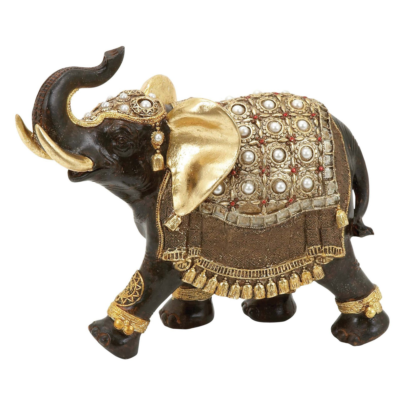 Woodland Imports Polystone Elephant with Intricate Detailing and Carvings