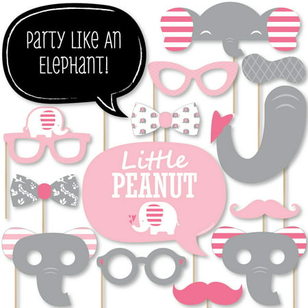 Pink Elephant - Girl Baby Shower or Birthday Party Photo Booth Props Kit - 20 Count](Party Birthday Girl)