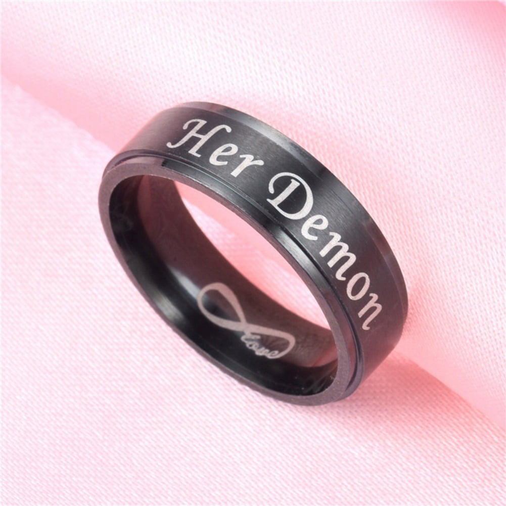 Fashion Letters Titanium Steel Couple Ring Wedding Band Jewelry ...