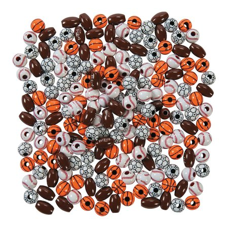 Plastic Sports Beads - Fun Express - Plastic Sport Ball Bead Assortment - Craft Supplies - Kids Beading - Plastic Beads - 200 Pieces