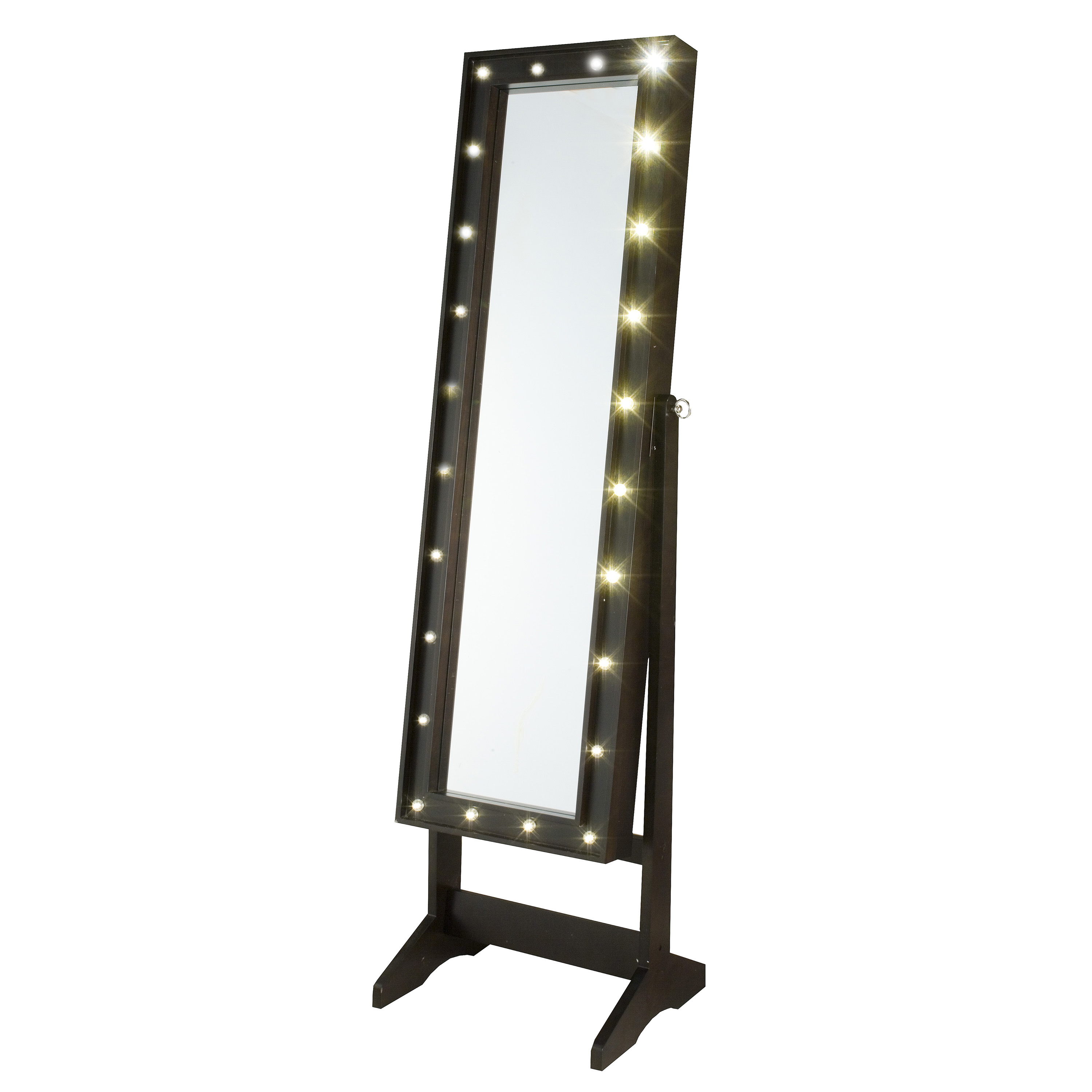 InnerSpace Cheval Mirror Jewelry Armoire with LED Lights ...