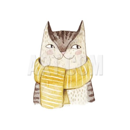 Cute Cat in Scarf . Watercolor Illustration with Domestic Animal. Lovely Pet. Hand Drawn Illustrati Print Wall Art By Maria (Cat Watercolor)