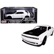 2018 Dodge Challenger SRT Hellcat Widebody White with Black Hood 1/24 Diecast Model Car by Motormax 79350