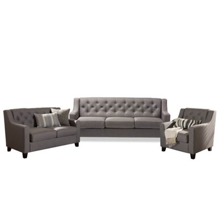 3 Piece Sofa Set with Sofa, Loveseat, and Accent Chair in Gray ()