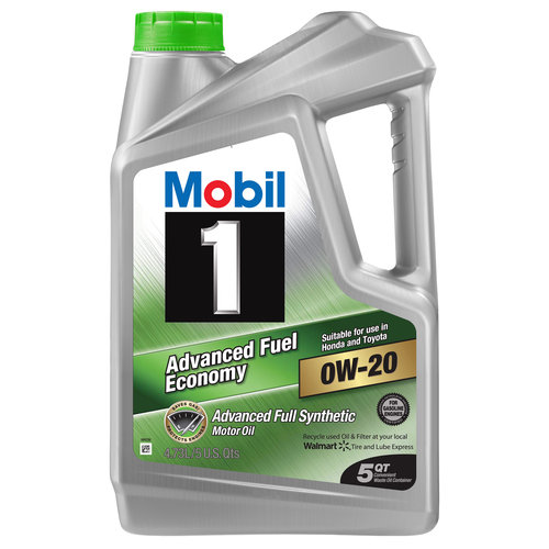 Mobil 1 0W-20 Advanced Fuel Economy Full Synthetic Motor Oil, 5 qt.