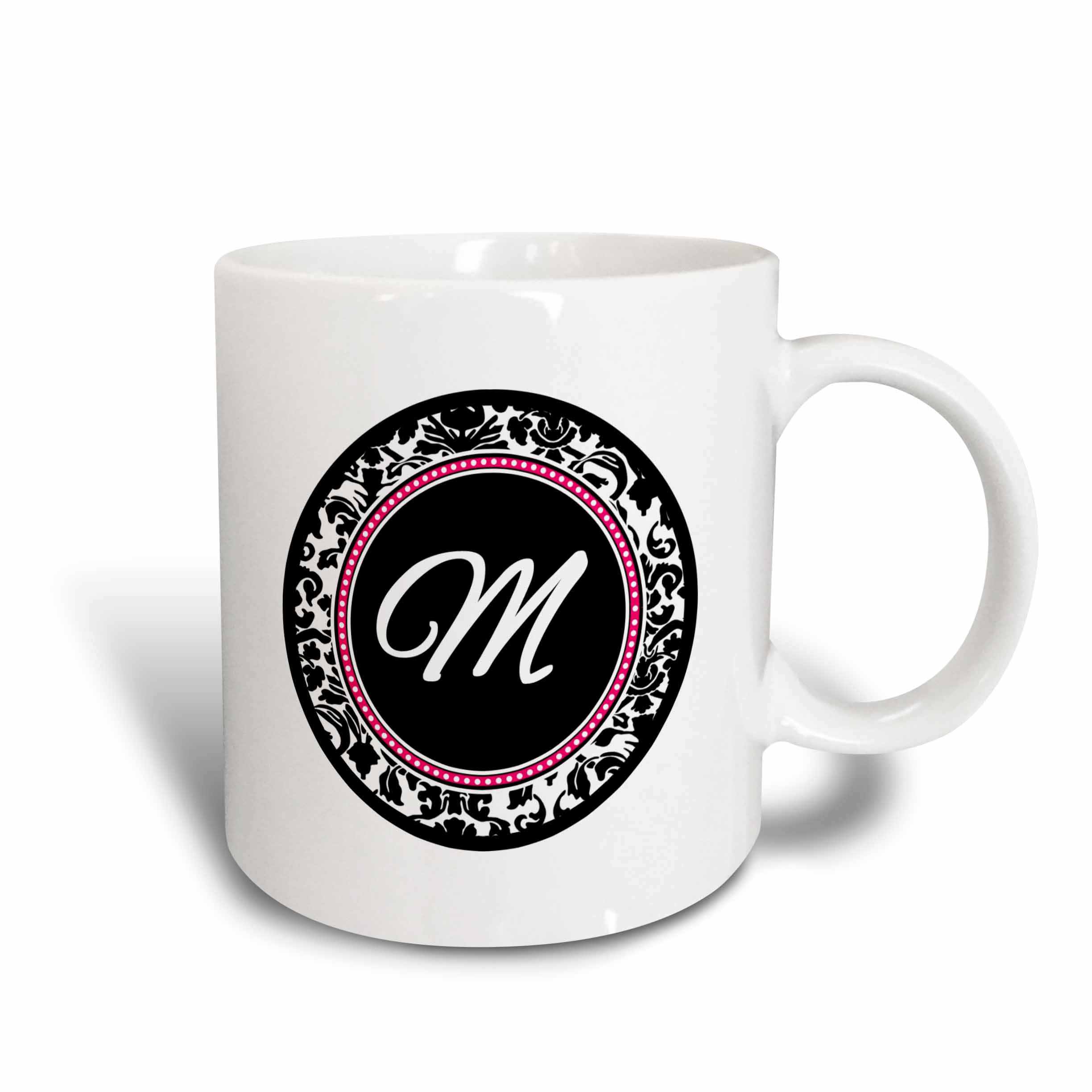 3dRose Letter M stylish monogrammed circle - girly personal initial personalized black damask with hot pink, Ceramic Mug, 11-ounce