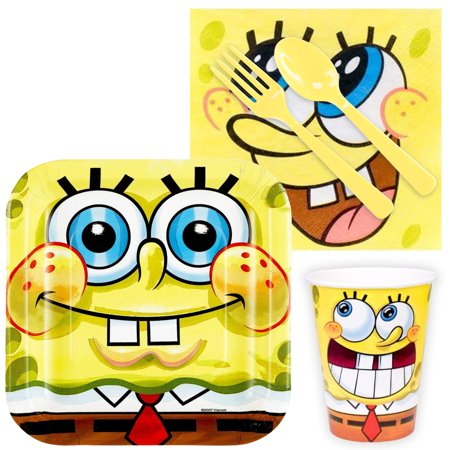 SpongeBob Birthday Party Standard Tableware Kit (Serves - Spongebob First Birthday