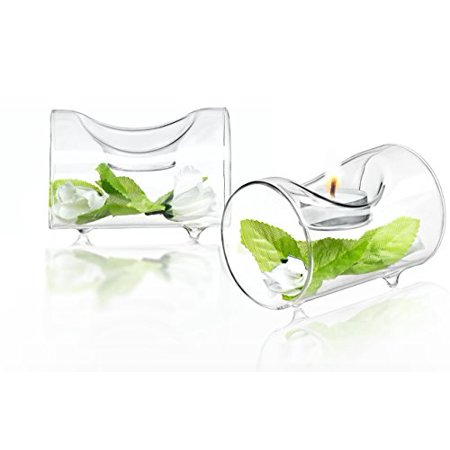 JoyJolt Set of 2 Tea Lights holder 1 Piece Clear Glass Tea Light Candle Holders Set Great For Décor, living room, Parties, Wedding Decorations Table Centerpiece TeaLight