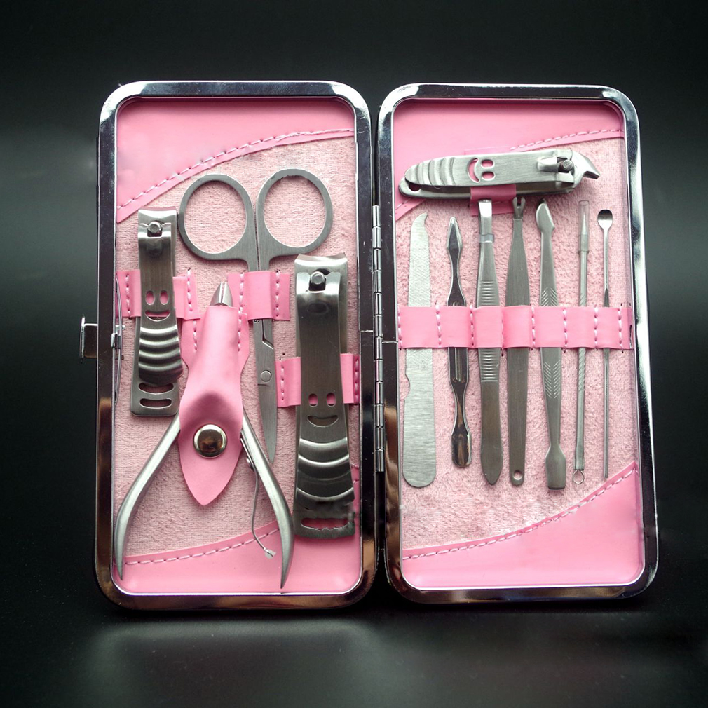 12Pcs Stainless Steel Nail Clipper Cutter Pedicure Manicure Set Kit Nail Scissors Tweezers Knife Tools Case Salon Use