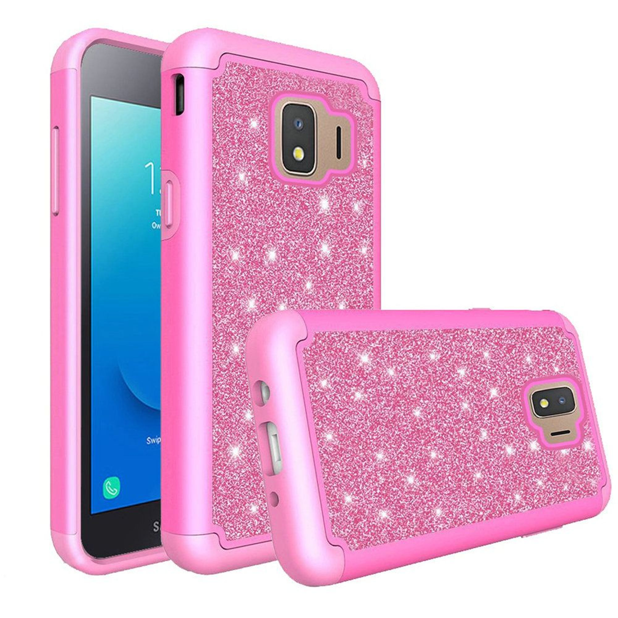 Samsung Galaxy J2 (2019) Case, by Insten Tough Glitter Bling Diamond Dual Layer Hybrid PC/TPU Rubber Case Cover For Samsung Galaxy J2 (2019) - Hot Pink