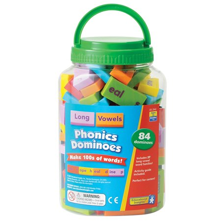 Phonics Dominoes - Long Vowels, Build hundreds of words with 84 single-sided dominoes in a sturdy, clear storage container. - Build A Word