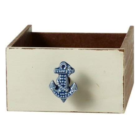 Blue Ships Anchor Drawer Knob Pull Ceramic ()