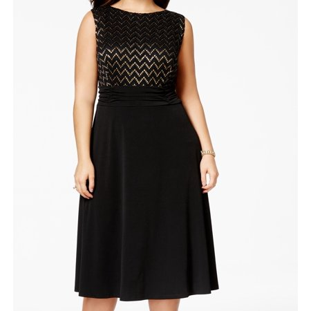 Connected Apparel New Black Gold Womens Size 16w Plus Sheath Dress