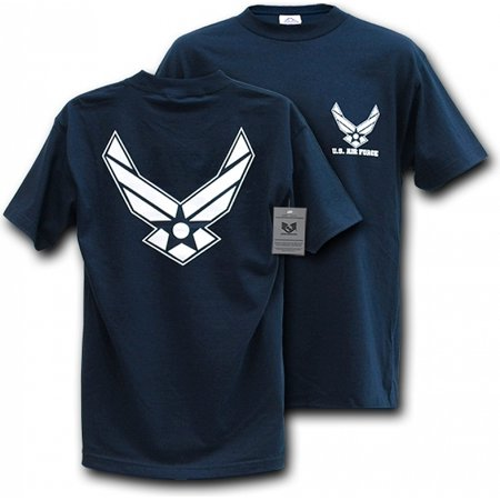 S25-WIN-NVY-04 Classic Military T-Shirt, Air Force Wing, Navy Extra (Air Force Wings T-shirt)