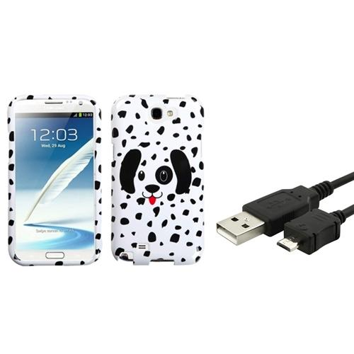 Insten Dotted Dalmatian Hard Case 3FT USB Cord Cable For Samsung Galaxy Note 2 II