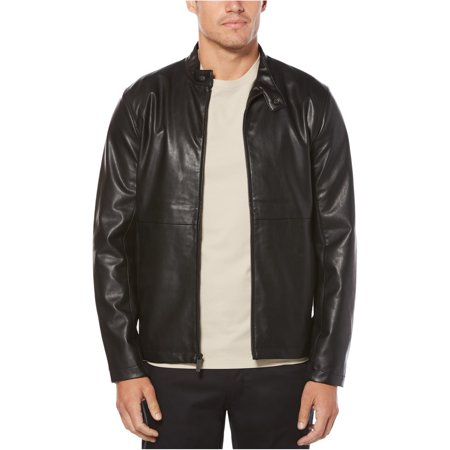 Perry Ellis Mens Faux Leather Full-Zip Bomber Jacket