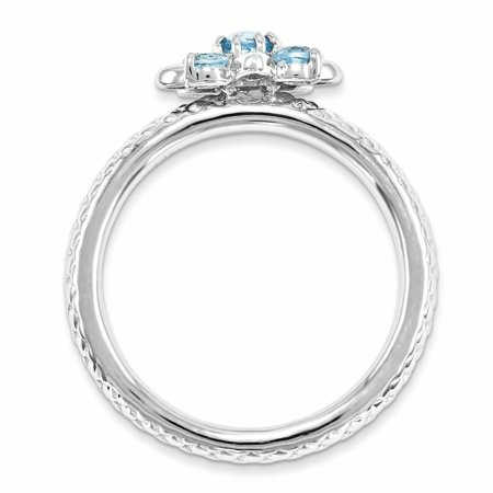 Sterling Silver Stackable Expressions Blue Topaz Ring Size 7 - image 3 of 3