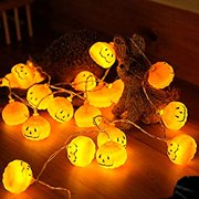 Halloween Pumpkin String Lights, Halloween Decorations Indoor,6.6foot 20 LED Battery Operated Party Wall Hanging Decor for Office Home,Warm White.