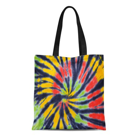 ASHLEIGH Canvas Tote Bag Yellow Reggae Shot of Tie Dye Green Pattern Black Reusable Shoulder Grocery Shopping Bags Handbag