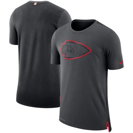on sale e36ac e80bd Kansas City Chiefs Nike Sideline Travel Mesh Performance T-Shirt -  Charcoal/Black - S - Walmart.com