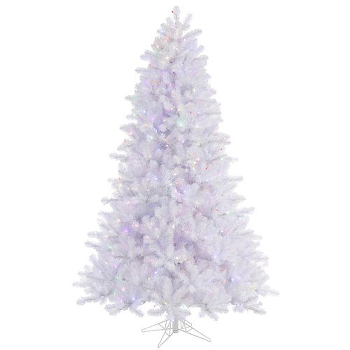The Holiday Aisle 7.5' Crystal White Pine Artificial Christmas Tree with 650 LED Multi Colored Lights with Stand