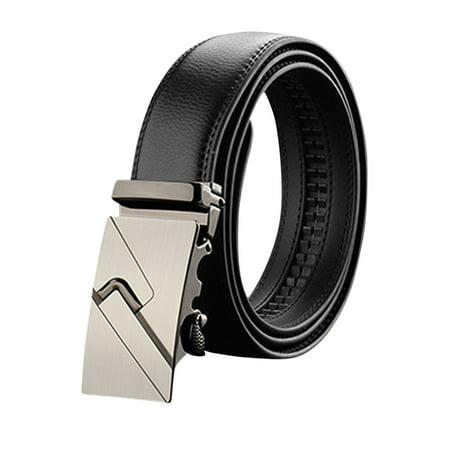 la moitié ff9f3 5659d Sans trou interne boucle coulissante Hommes PU réglable noir ceinture à  cliquet 110CM