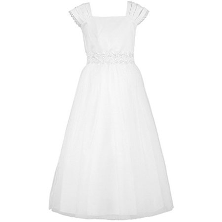 Big Girl Graceful Layerd Cap Sleeve First Communion Long Dress White 10 KD.222 - First Communion Dress