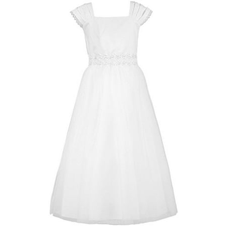 Big Girl Graceful Layerd Cap Sleeve First Communion Long Dress White 10 KD.222](Dresses For First Communion)