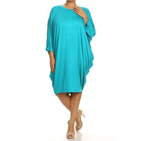 Dolman Mini Dress (Women's PLUS trendy style, solid,  3/4 dolman sleeve midi dress. )