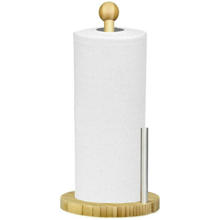 Home Basics Paper Towel Holder, Stainless Steel and Bamboo