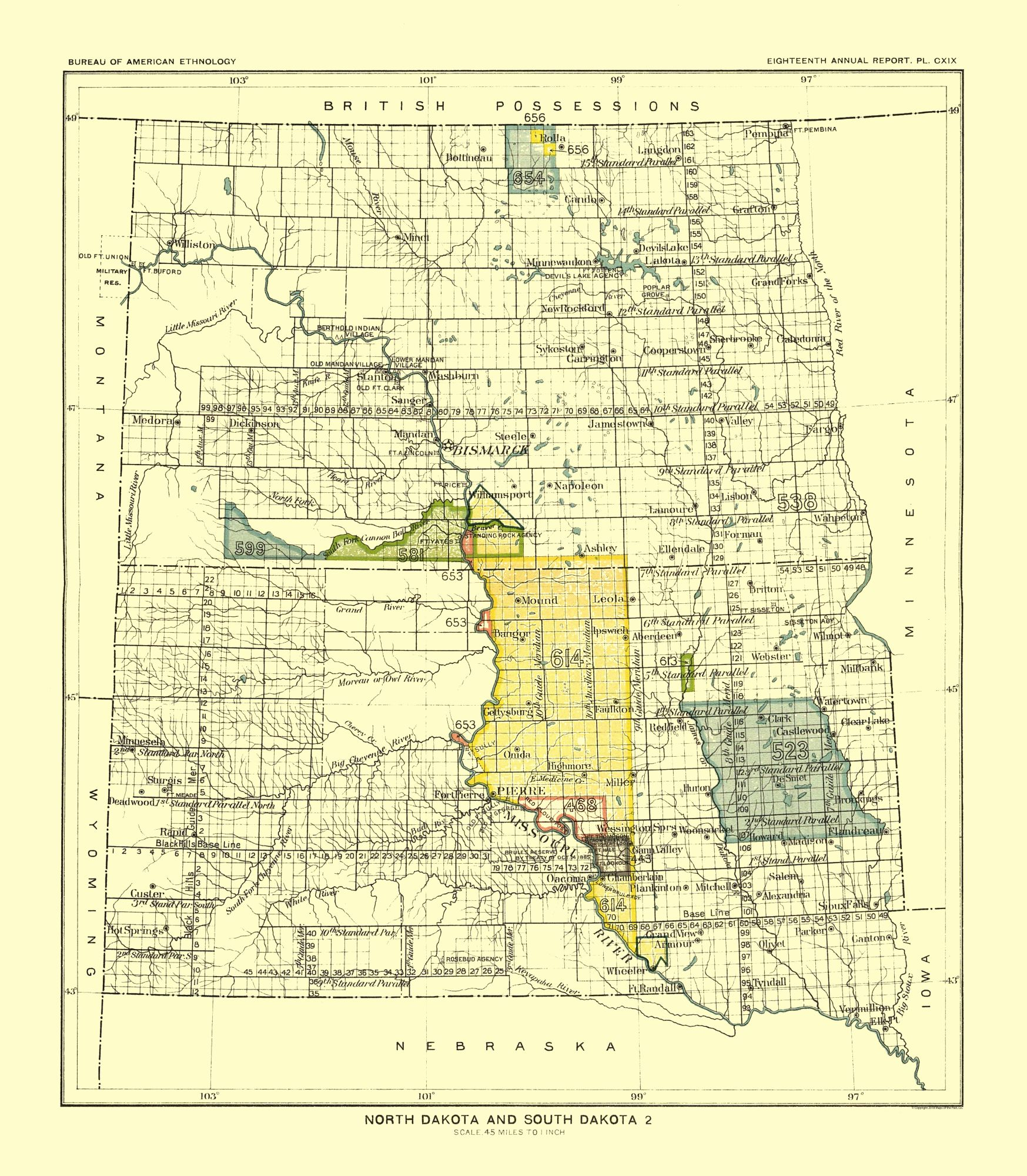 Old State Map - North and South Dakota - Pierre - Hoen 1896 - 23 x ...