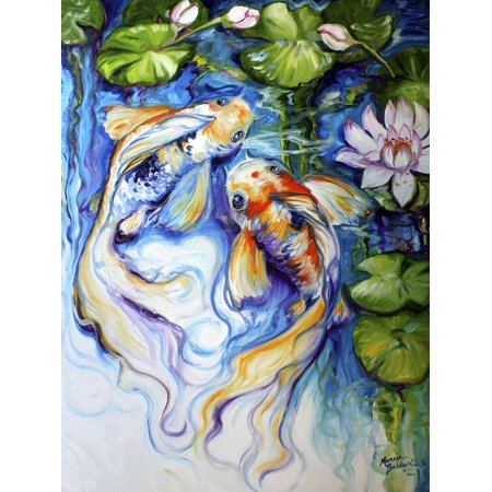 Koi Koi and Lily Asian Fish Animal Art Print Wall Art By Marcia Baldwin ()