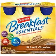 Carnation Breakfast Essentials Ready to Drink Nutritional Breakfast Drink, Rich Milk Chocolate, 6 - 8 FL OZ Bottles